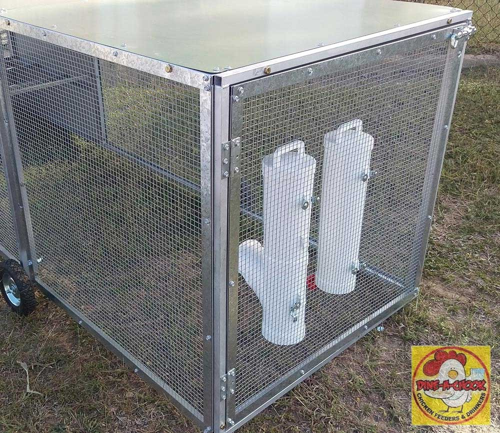 How to mount a chicken feeder to wire mesh